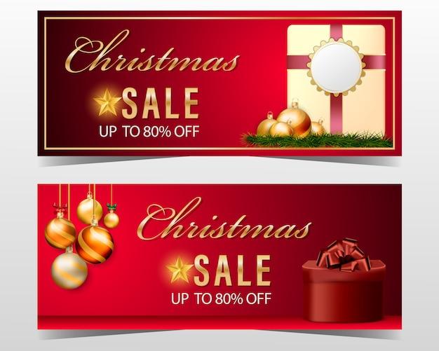 Gouden kerstballen banner