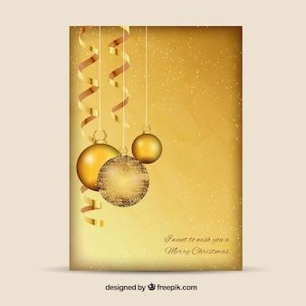 Gouden kerstballen kaart