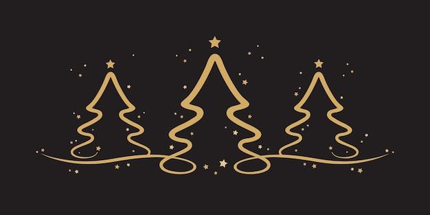 Gouden kerstbomen sterren zwarte achtergrond