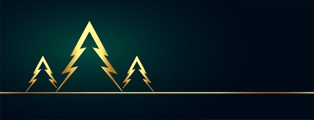 Gouden kerstboom banner met tekst ruimte