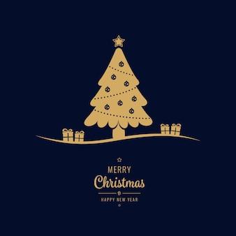 Gouden kerstboom geschenken groeten blauwe achtergrond