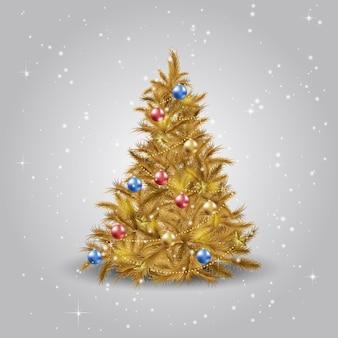 Gouden kerstboom met kerstster, ballen en verlichting. goudkleurige kerstboom.