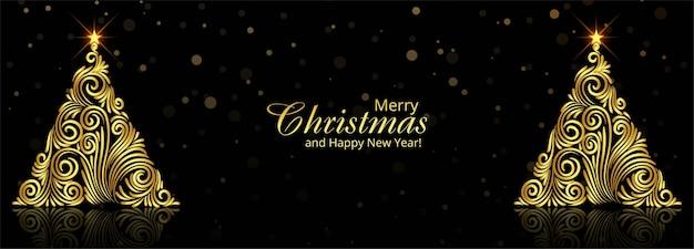 Gouden kerstboom wenskaart banner achtergrond