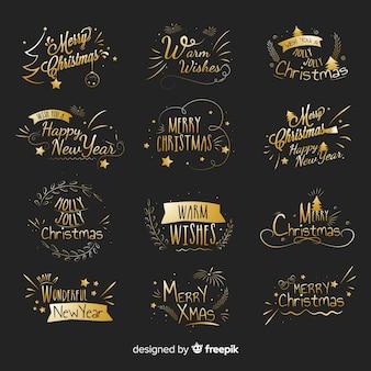 Gouden kerstetikettenpak