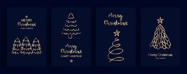 Gouden kerstkaarten set