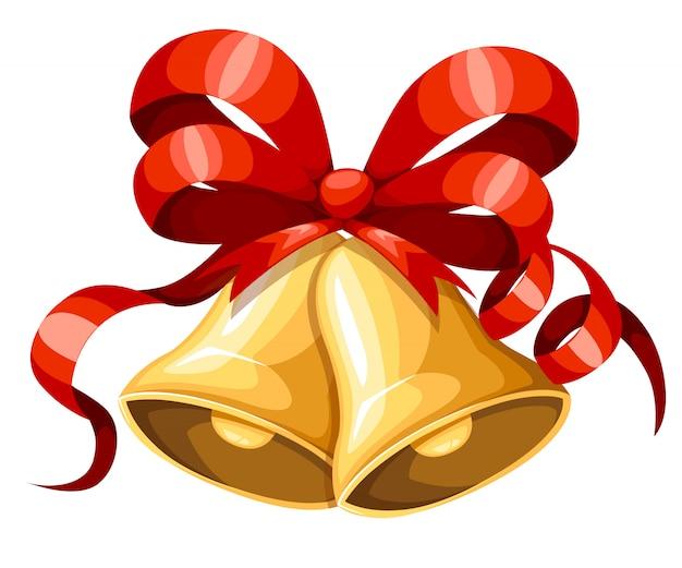 Gouden kerstklok met rood lint en boog. xmas decoratie. jingle bells pictogram. illustratie op witte achtergrond.