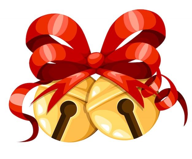 Gouden kerstklokballen met rood lint en boog. xmas decoratie. jingle bells pictogram. illustratie op witte achtergrond.