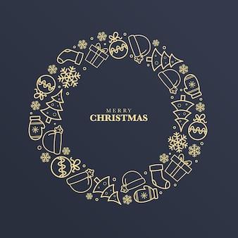 Gouden kerstkrans concept