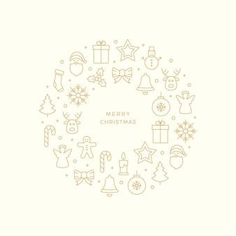 Gouden kerstlijn pictogrammen cirkel beige achtergrond