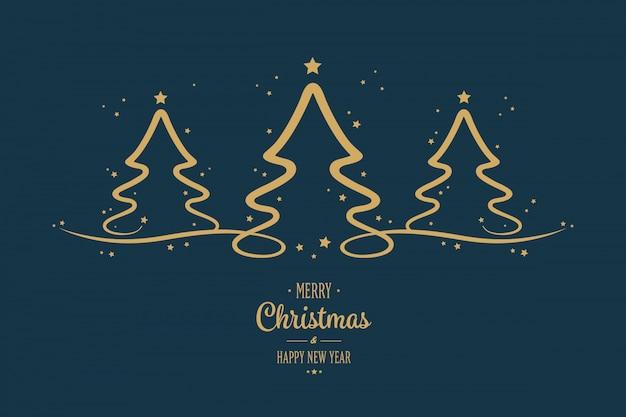 Gouden kerstmisbomensterren die blauwe achtergrond begroeten