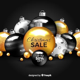 Gouden kerstmisverkoop met ornamenten