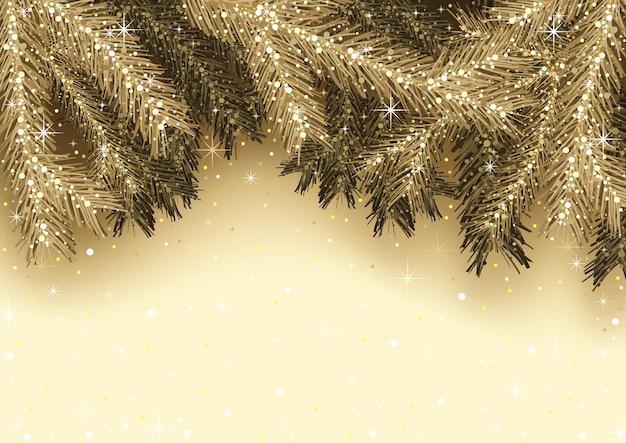 Gouden kerstwenskaart met boomtakken en sprankelende glitters - achtergrondillustratie, vector