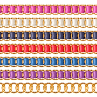 Gouden kettingen die met kleurrijke draadborstel van het stoffenlint worden geplaatst. goed voor ketting, armband, sieradenaccessoire.