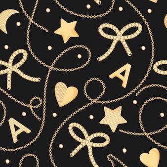 Gouden kettingen en juwelen met diamanten naadloze patroon. mode achtergrond met gouden ketting, sieraden accessoires en edelstenen voor textiel, stof afdrukken. vector illustratie