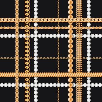 Gouden kettingen en parels op zwart luxe naadloos patroon