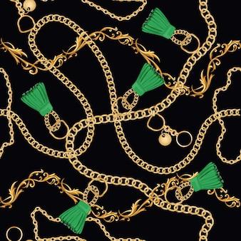 Gouden kettingen luxe naadloze patroon