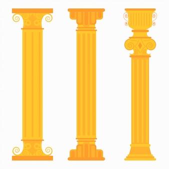 Gouden klassieke kolommen voor bruiloften