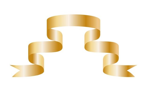 Gouden kleurrijke gebogen lint op witte achtergrond. vectorillustratie.