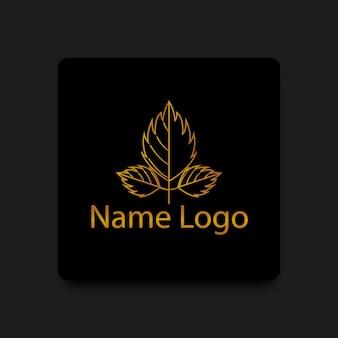 Gouden kleurverloop drie blad logo