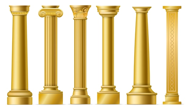 Gouden kolommen. klassieke antieke gouden pilaren, romeinse historische stenen kolom, oude griekenland historische architectuur sculptuur gevel, marmeren colonnade vector 3d geïsoleerde elementen set