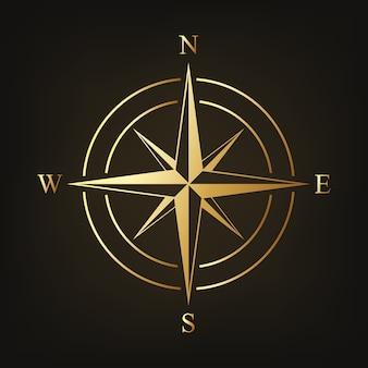 Gouden kompaspictogram dat op donker wordt geïsoleerd