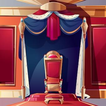 Gouden koningenentroon ingelegd met edelstenen, poef en kussen op de stoel