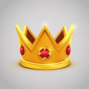 Gouden koningskroon met rode juwelen.