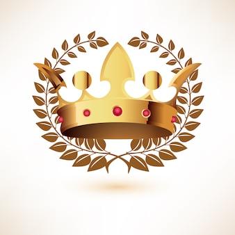 Gouden koninklijke kroon met lauwerkrans die op wit wordt geïsoleerd