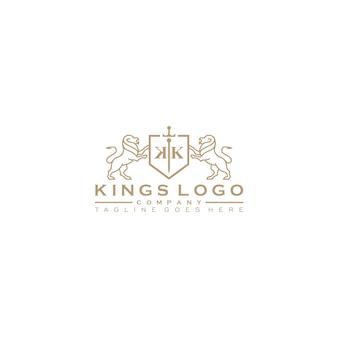 Gouden koninklijke leeuwenkoning logo