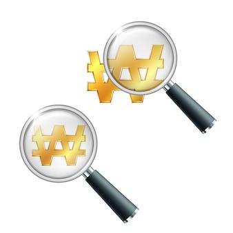 Gouden koreaanse won valutateken met vergrootglas. zoek of controleer financiële stabiliteit. illustratie geïsoleerd op een witte achtergrond