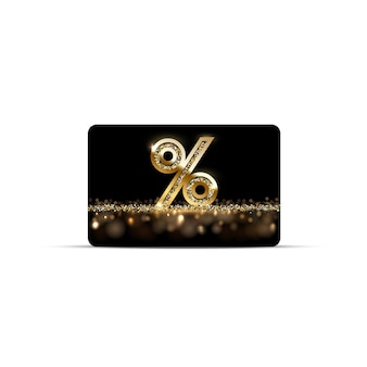 Gouden korting of gift card met procentteken geïsoleerd op wit