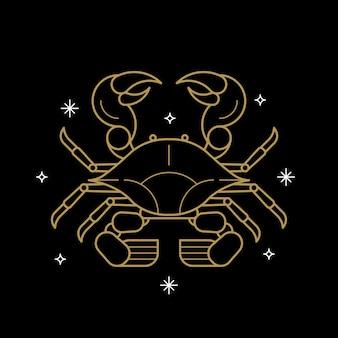 Gouden kreeft astrologisch teken op een zwarte achtergrond