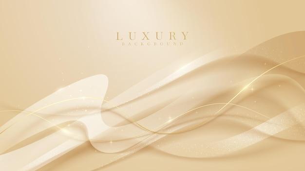 Gouden kromme lijn luxe achtergrond, moderne omslagontwerp. uitnodigingskaart sjabloon concept. vector illustratie.