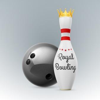 Gouden kroon bij witte kegels op een witte achtergrond. bowlingbal