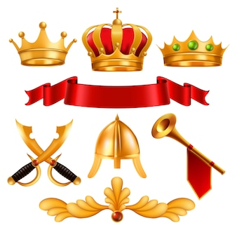 Gouden kroon en elementen