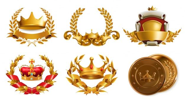 Gouden kroon en lauwerkrans. 3d-vector logo