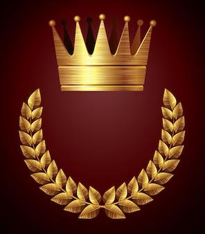 Gouden kroon met lauwerkrans eps8 cmyk georganiseerd door lagen globale kleuren gebruikte verlopen