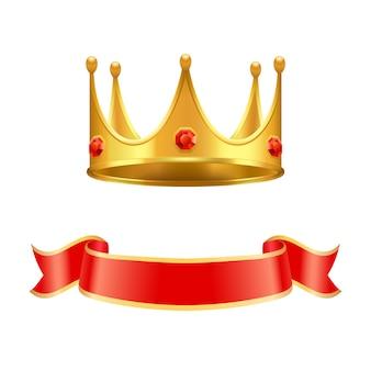 Gouden kroon met robijnrode edelsteen en zijden krullenlint