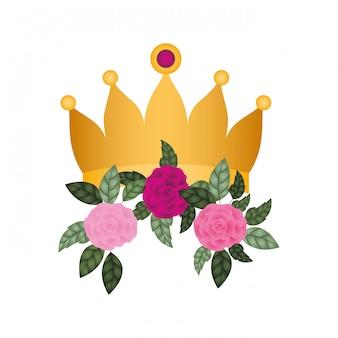 Gouden kroon met rozen geïsoleerde pictogram