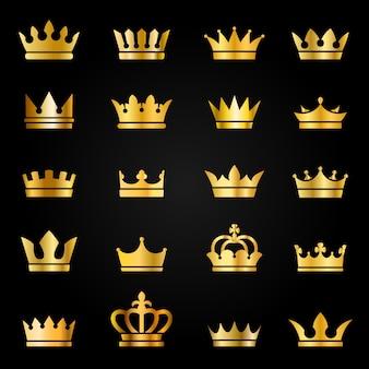 Gouden kroon pictogrammen. koningin koning kroont luxe koninklijk op bord, bekroonde tiara heraldische winnaar award juweel set