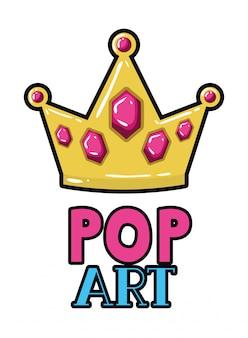 Gouden kroon pop-art pictogram