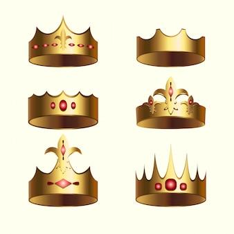 Gouden kroon van koninkrijk geïsoleerde set