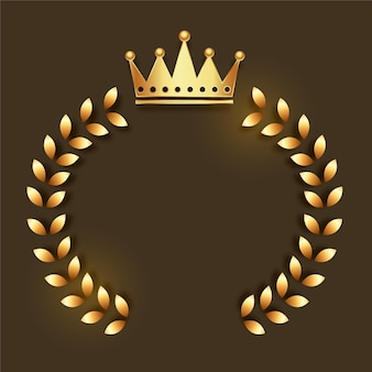 Gouden kroonembleem met kroonkader