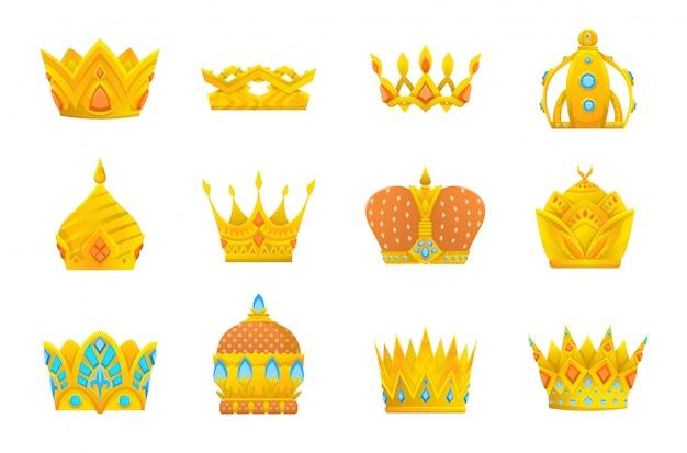 Gouden kroonpictogrammen instellen. collectie kroonprijzen voor winnaars, kampioenen, leiderschap. geïsoleerde elementen voor logo, label, spel, hotel, een app-ontwerp. koninklijke koning, koningin, prinses kroon.