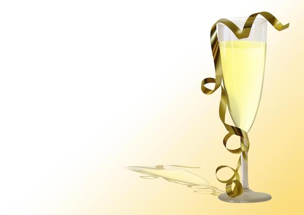 Gouden krullend lint gedrapeerd over champagne in een glas
