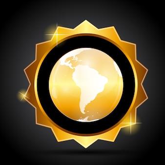 Gouden label met globe kaart