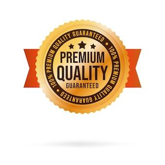 Gouden label van topkwaliteit met luxe realistisch ontwerp.