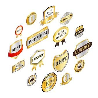 Gouden labels-collectie, isometrische stijl