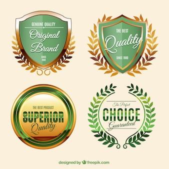 Gouden labels in vintage stijl