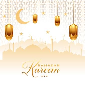 Gouden lantaarn en sterren ornament van marhaban ya ramadan gouden ramadan ramadhan